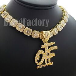 Hip Hop Gold PT Only the Family OTF Pendant amp; 18quot; Iced Choker Chain Necklace $14.24