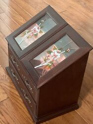 VTG  Wood Jewelry Box Armoire Large Stand Organizer Cabinet