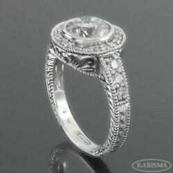 DIAMOND ANTIQUE STYLE RING 1.05 CARATS DOTS FLAWLESS VS1 18K WHITE GOLD WOMEN