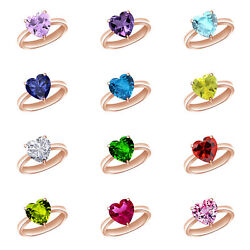 14k Rose Gold Over Heart Engagement Ring Birthstone 12 Options Valentine Gifts $62.37