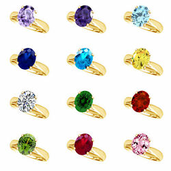 14k Yellow Gold Over Oval Cut Engagement Ring Birthstone 12 Options $191.92 $62.37