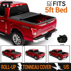 Lock & Roll-Up Black Soft Vinyl Tonneau Cover Fits 16-19 Toyota Tacoma 5ft Bed