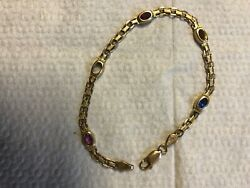 Vintage 14k Gold Bracelet with  Multi-Color Stones 7g Italy 1 Stone is Missing