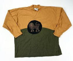 Living Planet Panthera Color Block Vtg Men's Medium M Long Sleeve Africa Style
