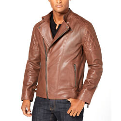 INC International Concepts Men's Asymmetrical Full-Zip Leather Jacket Brown Larg