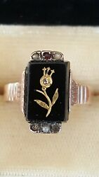 Vintage 10k Gold Onyx Pearl Ruby Ladies Religious Fraternal Ring 4 Grams Size 7