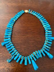 Estate GORGEOUS Custom Vintage Turquoise and 14k Necklace