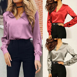 Women Shirt V-Neck Satin Blouse Casual Long Sleeve Work Office Elegant Sexy Tops