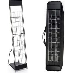 Steel Black Portable Floor Magazine Rack 10 Pockets for 8.5 x 11 Inches Catalogs $149.97