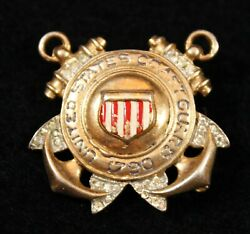 Vintage Crown Trifari Sterling Silver WWII Sweetheart Brooch Pin Coast Guard