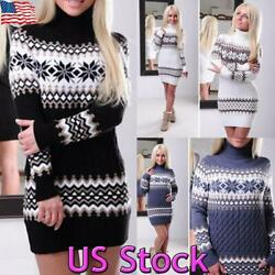 Women Winter Knitted Jumper XMAS Sweater Pullover Knitwear Long Top Mini Dress