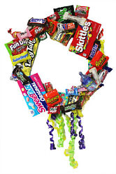 Candy Wreath with a Variety of Popular Name Brand Candies. Celebration Gift!