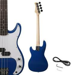 New Blue Beginner Practice School Student Band Electric 4 Strings Bass