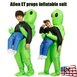 Adult Kids Inflatable Green Alien Costume Funny Halloween Cosplay Party Suit #US