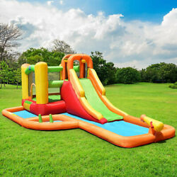 Fun Inflatable Bounce House w Blower Water Park Slide Splash Pool Toddler Toys