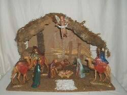 Sears 10 Figure Nativity Set wWooden Creche Made in Italy by Landi