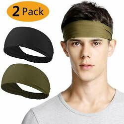 Neitooh Headbands for Men Women 2 Pack Mens Headband Elastic Sweat Wicking Non $11.40