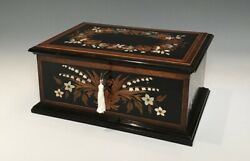 Superb Antique 19thC Italian Ebony and Mother of Pearl Jewellery Casket