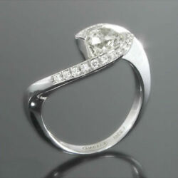 ESTATE 14 KT WHITE GOLD 2.31 CT DIAMOND TWIST RING WOMEN EARTH MINED ROUND SHAPE