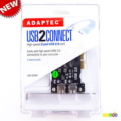Adaptec AUA 2000A 2 External USB 2.0 Ports PCI Card Expansion Host Controller $11.89