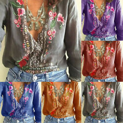 Womens Plus Size Embroidered Flowers Deep V Neck Blouses Baggy Tops T Shirts