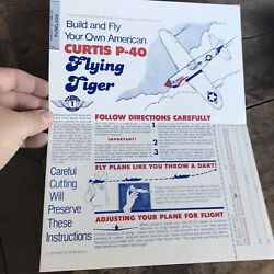 Curtis P 40 Flying Tiger 1979 Paper Airplane Vintage Classic $8.49
