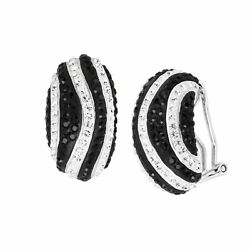 Striped Drop Earrings with Crystals in Rhodium-Plated Bronze