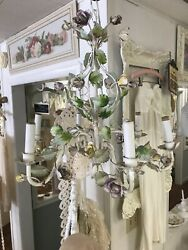 Pretty Tole Floral Roses Vintage Chandelier Shabby Chic $249.00