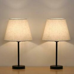 Set of 2 Modern Table Reading Lamp Desk Light Black Bedside With Fabric Shade $25.70