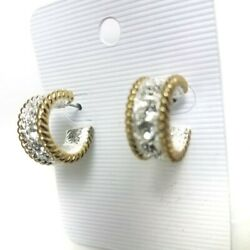 Hoop Earrings Pierced Huggie 2 Tone with Crystal Silver & Gold Tone