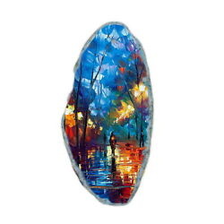 Color Printing oil painting Agate Gemstone Pendant Necklace Y1901 0940