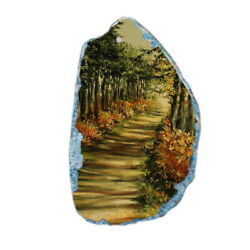 Color Printing oil painting Agate Gemstone Pendant Necklace Y1901 0895