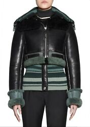 RUNWAY ACNE STUDIOS NWT $2700 AVIATOR SHEARLING LEATHER JACKET KNIT WOOL 38 S -M