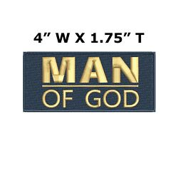 MAN OF GOD Embroidered Patch Iron-On  Sew-On Christian Bible Jesus Applique