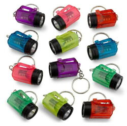 12 Mini Flashlight Keychains 1.5quot; Pack Assorted Neon Colors Wedding Party Bulk $8.99