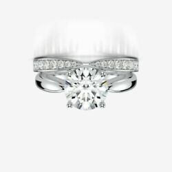 2.2 CARATS COLORLESS WEDDING DIAMOND BAND SET RING 18K WHITE GOLD SIZE 6.5 8 9