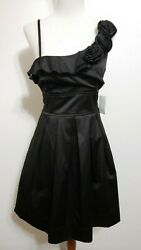 Charlotte Russe Womens 9 Black Rose Netting Lined Dress NEW Ruffle Satin Stretch