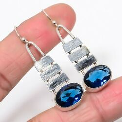 Matte Finish Blue Sapphire 925 Sterling Silver Antique Look Earring 1.97