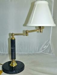 Smoky Marble Swinging Arm Lamp with shade Brass Adjustable Arm $45.99