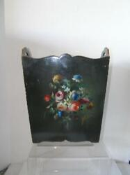 Antique Tole hand painted Wood Waste Magazine Holder Floral Lacquer signed $79.99