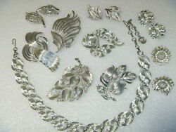lot LISNER  vintage necklace  earrings pins leaf abstract silver tone brushed
