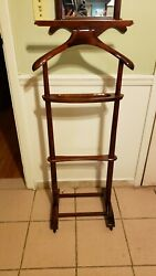 Vintage Men's Wooden Suit Butler Valet Stand Rack