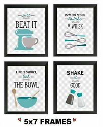💗 5x7 Retro Blue Pictures Vintage Kitchen Beat Whisk Bowl Shake Wall Hangings $18.99