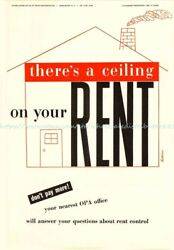1945 WW2 propaganda There#x27;s a Ceiling on your Rent paper poster $13.75