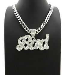 ICY CELEBRITY STYLE SILVER PT BAD PENDANT amp; 9mm 20quot; CUBAN CHOKER CHAIN NECKLACE