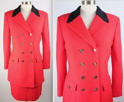 New sz 8 St John 2 piece suit red skirt long jacket double breasted black collar $209.99