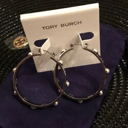 NWT Tory Burch Pierced T Pearl Hoop Earrings Silver with Velvet Pouch 30% OFF!