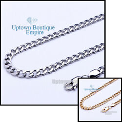 Women Men Stainless Steel Cuban Necklace 345681012mm Chain Link $6.48