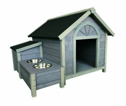 Wooden Large Dog House Dog Kennel With Dog Bowls W42*D39*H30 inch
