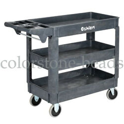 3 Layer Rolling Utility Cart Tool Storage Shelve Workshop Plastic 500lb Capacity